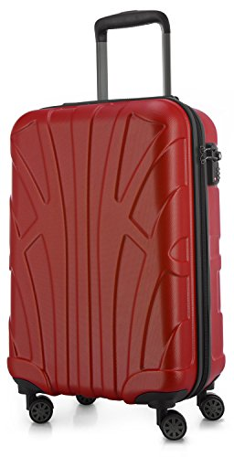 SUITLINE - Handgepäck Hartschalen-Koffer Koffer Trolley Rollkoffer Reisekoffer, TSA, 55 cm, 34 Liter, Rot (20 Boards)