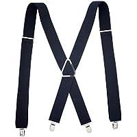 Lorjoy Hombres Ancho Ajustable Brace Recto con Clips de X-Back Doble Cuellos Suspender