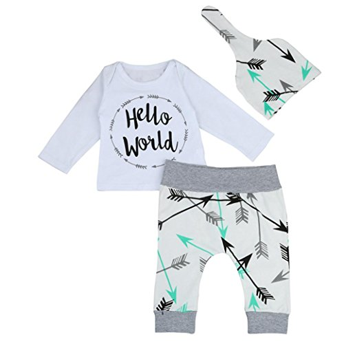 Xshuai Neugeborenes Baby Jungen-Buchstabe-T-Shirt Oberseiten + Pfeil-Hosen + Hut-Kleidung (18 Monate, Weiß)