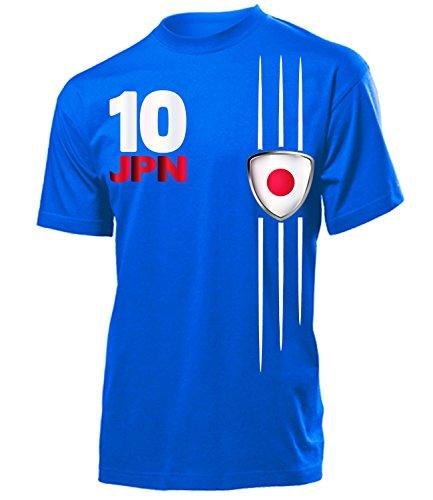 Japan Fanshirt Fan Shirt Tshirt Fanartikel Artikel Streifen 3313 Fussball Männer Herren T-Shirts Blau XXL