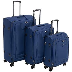 AmazonBasics – Set de dos maletas con ruedas, de calidad superior, expandible, con lados blandos y cierre con candado TSA, (53 cm, 64 cm, 74cm), Azul