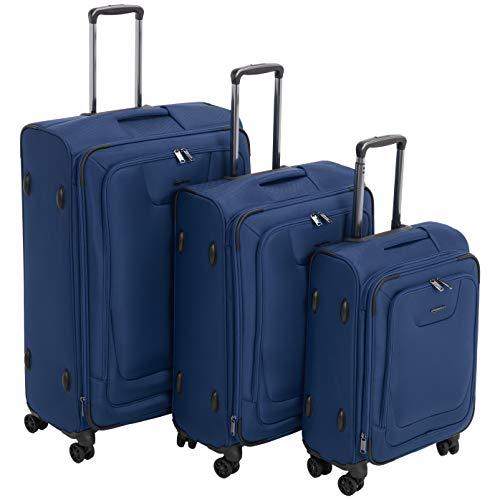 Amazonbasics, set di 3 valigie premium, espandibili, morbide, con rotelle multidirezionali e chiusura con combinazione tsa, (53 cm, 64 cm, 74 cm), blu
