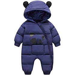 Happy Cherry Snowsuit Combinaison Enfant Garçon Fille Vêtement de Ski Ensemble Bébé Manteau Combinaison de Neige à Capuche Bébé Jumpsuit Imprimé Animal Panda 2-3 ans Bleu marine