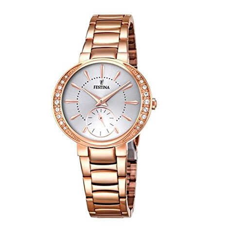 Festina MADEMOISELLE Women's Quartz Watch with Silver Dial Analogue Display and Rose Gold Stainless Steel Rose Gold Plated Bracelet F16911/1