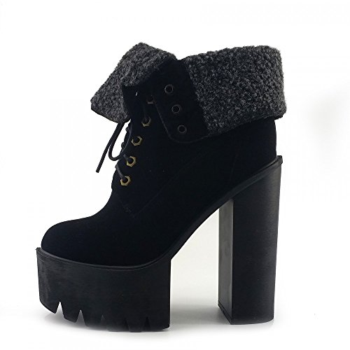 Kick Footwear - Womens Chunky Platform Ankle Shoes Nero - 1