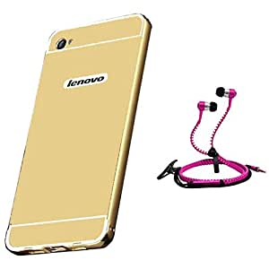 Droit Luxury Metal Bumper + Acrylic Mirror Back Cover Case For + Lenovo K5 Plus Stylish Zipper Handfree and Good QualitySound by Droit Store.
