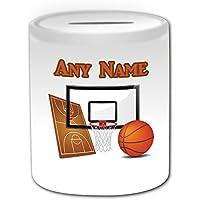 Regalo personalizzato–Salvadanaio Basket (Sport, motivo design, colore: bianco, qualsiasi nome/Messaggio sul tuo unico–Tabellone NBA Slam Dunk