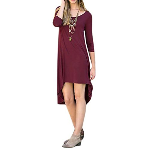 Asymmetrisches Kleid Fluid 3/4 Ärmeln. Bordeaux