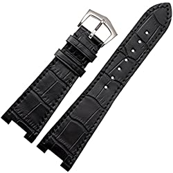 New 25mm Black Genuine Leather Watch Strap Band Buckle Suitable PP patek philippe 5712R|5711G Replacement