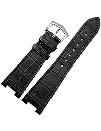 Nuevo 25mm negro piel auténtica correa para reloj banda hebilla apto PP Patek Philippe 5712g repuesto