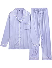 ec4f2a3185 Männer Frühling Und Sommer Pyjamas Langarm-Hosen Startseite Kleidung Satin  Pyjamas Zwei Stücke Set Seide