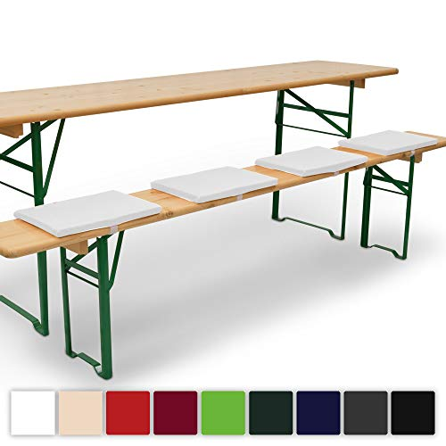 Beautissu 4er Set Comfort XS gepolsterte Bierbankkissen 25x36x2 cm Kissen Sitzkissen mit Befestigungsband - weiß erhältlich