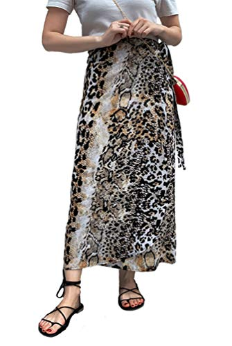 Botanmu Mujer Falda Cruzada Larga Falda Verano Retro Talla Grande Falda Leopardo Chiffon Cintura Ajustada (A)