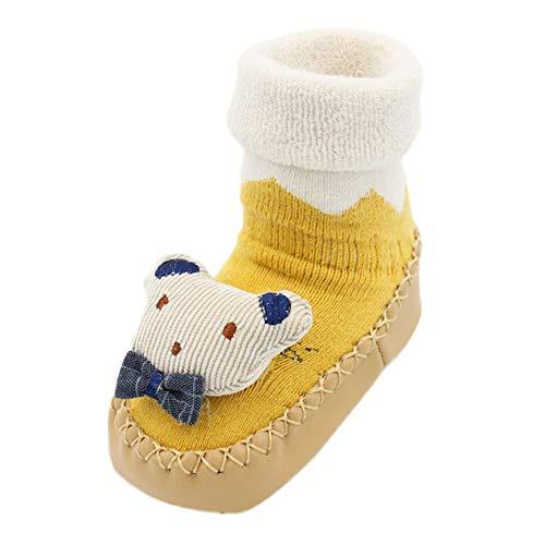 JERFER Boden Socken rutschfeste Gummisohlen Schuhe-Premium Weich Leder Babyschuhe Jungen und Mädchen Babyschuhe - Neugeborene bis 1-3.5Jahre (13 EU, D) 13 Premium-leder