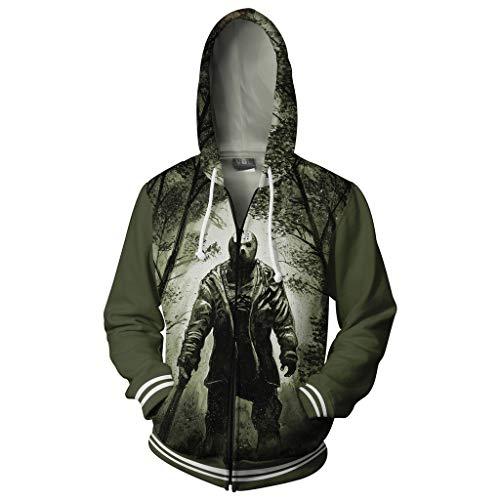 Henxizucun Herren Langarm Hoodies Zip Varsity Zip Up Hoodie Unisex Hooded Sweatshirt Zipper (Film Themen Halloween Kostüme Für Paare)