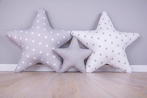 Sterne (Amilian® Set 3 x Kissen Stern Sternchen Dekokissen Kuschlig Flauschig ca. 60 cm/ 28cm SET1)