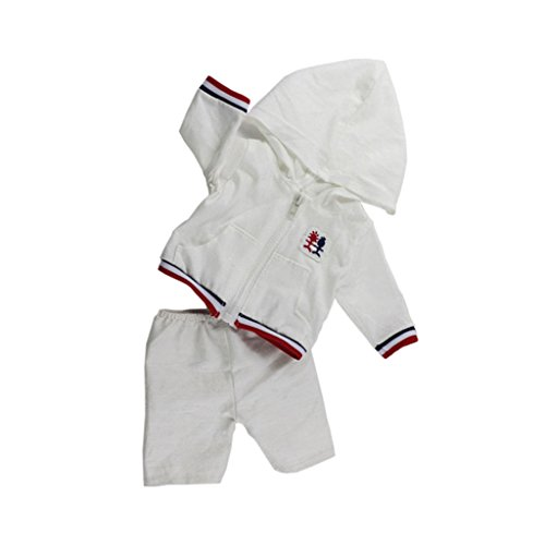 MagiDeal 18 Zoll Puppen Puppenkleidung Sportkleidung Bekleidung Puppe Hose + Mantel mit Kapuze ( Weiß )
