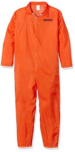 421 - Erwachsenenkostüm Gefangener, Größe S (Orange Overall Kostüm)