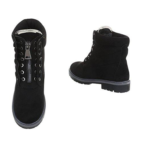 Chaussures Pour Femmes Bottines À Talon Carré Bottines À Lacets Ital-design Noir A-20