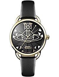 Vivienne Westwood Women's Quartz Watch with Black Dial Analogue Display and Black Leather Strap VV163BKBK