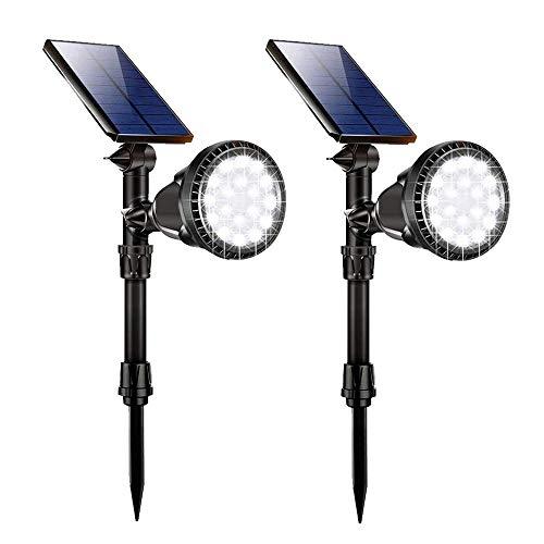 Lampada Giardino Solare, GIANTARM 18 LED Luce Solare Esterna Super Luminosa, IP65 Impermeabile, Faretti da Giardino Solare per Recinzione, Giardino, Percorso, Patio e Balcone (2 pezzi)