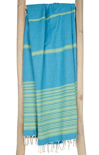 ZusenZomer Hamamtuch XL Biarritz 100x190 100% gekämmte Baumwolle Türkis Lime - Fouta Hammam Badetuch Strandtuch Saunatuch - Fair Trade Hamamtücher (Hamam Handtuch)