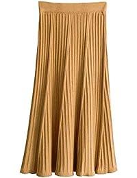Mujer Punto Falda A-Line Otoño Invierno Slim Fit Cintura Alta Midi Larga  Plisada Faldas d1bdec53ef14