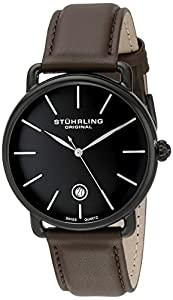Stuhrling Original Man Agent 768.03 - Reloj de pulsera cuarzo suizo Hombre correa dePiel Marrón de Stührling Original