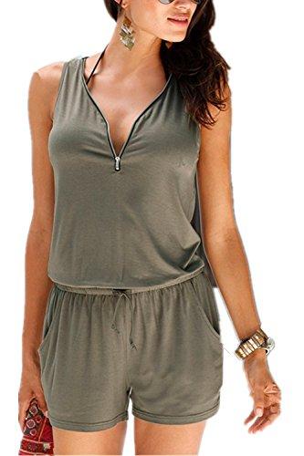 Monissy Frauen-Overall mit V-Ausschnitt ärmel mit Gürtel Zipper Schwarz, Braun, Grün-dünne kurze