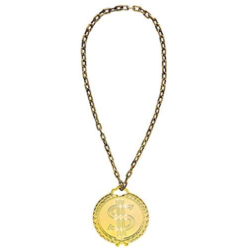 Collar de Rapero - 58 cm | Collar de Gángster Dorado | Adorno Disfraz Blin-blín | Joyería de Hip Hop
