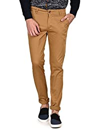 Ruace Men's Dark Khaki Slim Fit Cotton Trouser