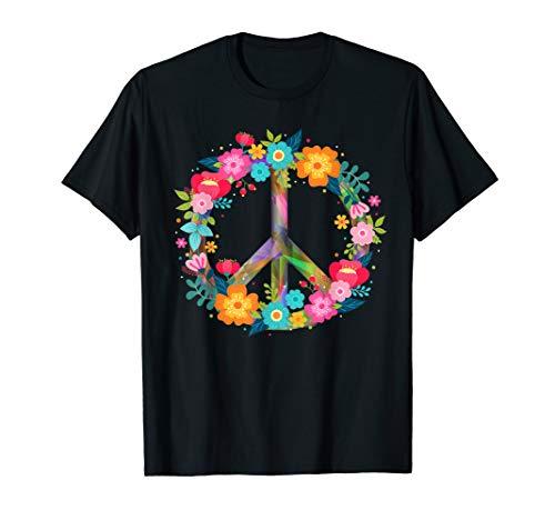 Kostüm Tshirt - Peace Love Hippie Kostüm Tie Dye 60er 70er Jahre T-Shirt