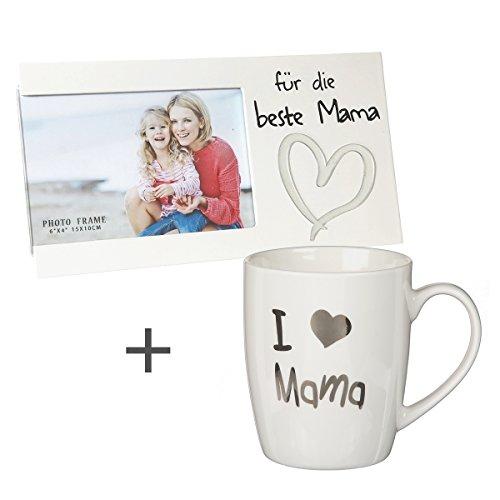 2-Teiliges Geschenkset Mama' / Bilderrahmen/Tasse 'I Love Mama' / Muttertag/Geburtstag / Mama