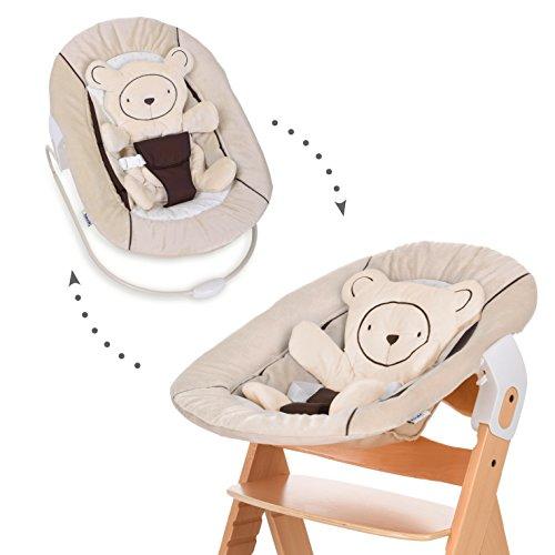 Hauck Alpha Bouncer - 3 en 1 para recién nacido, hamaca de tejido suave, combinable con trona de madera evolutiva Alpha+ y Beta+ de HAUCK, incluido reductor, mecedora para bebes, Hearts Beige