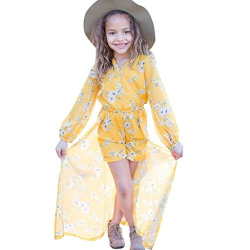 y Kinder MäDchen Kleinkind Blume Langarm Print Party Prinzessin Kleider-UnregelmäßIge Floral Sonnencreme Kleid ()