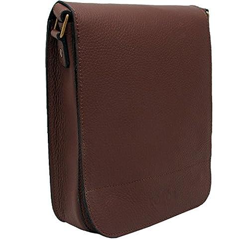 Koson Leather Handgefertigt Messenger Tasche für Herren, Leder Umhängetasche Schultaschen