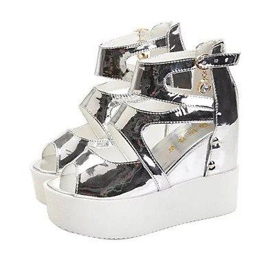 LvYuan Damen-Sandalen-Büro Kleid Lässig-PU-Keilabsatz-Club-Schuhe-Schwarz Weiß Silber White