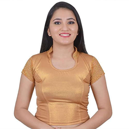 Biyu Copper Cap Sleeve Chinese Collar Cotton Lycra Stretchable Readymade saree Blouse For Women
