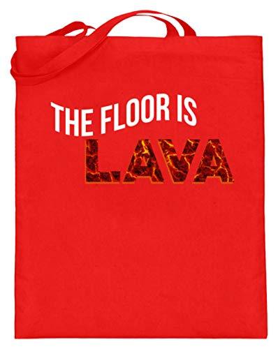 The Floor Is Lava - Der Boden Ist Aus Lava - Kinder, Kinderspiel, Erwachsene - Lustiges - Jutebeutel (mit langen Henkeln)