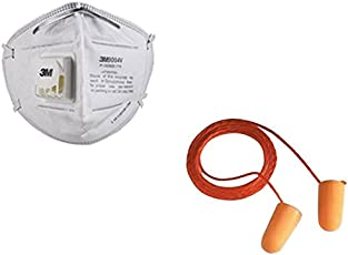 3M 9004V Valved Mask and Respirator with 3M 1110 Corded Reusable Ear Plugs by Krishna Inc.