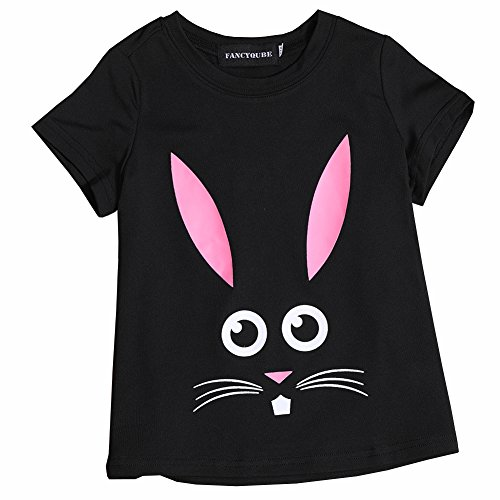 Queenromen Kid's Easter Bunny Face Short Sleeve T-Shirt Cute Rabbit Funny Girl's Summer Shirts Top for Height 140cm Black (T-shirt Easter Bunny)