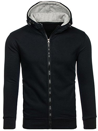 BOLF Herren Sweatshirt mit Kapuze Reißverschluss Pullover Basic sportlicher Stil Mix 1A1 Schwarz_AK19
