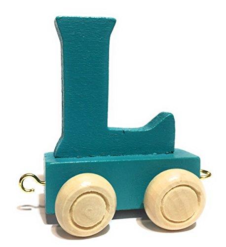 Buchstabenzug bunt   bunte Lok - farbige Waggons   Wunschname zusammenstellen   Holzeisenbahn   EbyReo® Namenszug aus Holz   personalisierbar   auch als Geschenk Set (Farbe Türkis, Buchstabe L)
