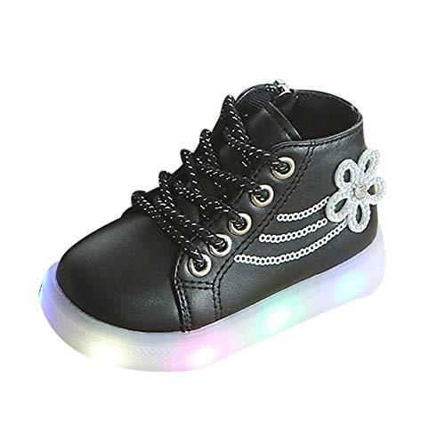 Oyedens Led Schuhe Kinder Mädchen, Strass Blumen Beleuchtung Led Leuchtende Turnschuhe Leuchtet Schuhe Strahlende Schuhe Kurze Stiefel Laufschuhe Wanderschuhe Sportschuhe 1-6 Alter - Kleid-schuhe Wetter Kaltes Mens