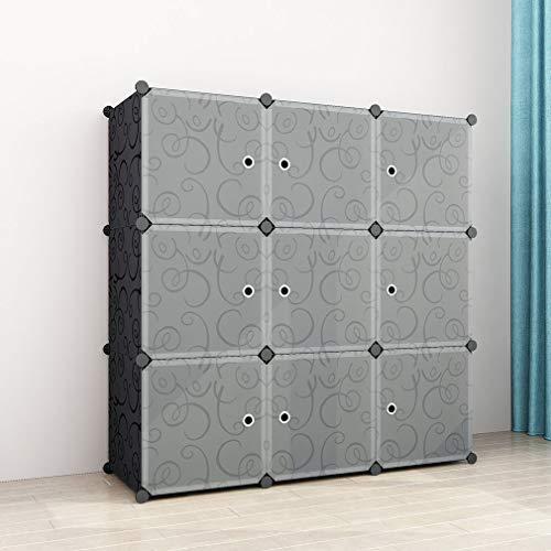 Simpdiy semplice armadio salva spazio in plastica,molto ampio e spazioso 9 cubi 108x36x108cm scaffale portaoggetti modulare