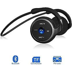 Auriculares Bluetooth 4.1, 3-en 1 Estéreo Auricular Deportivo, Cascos Inalámbricos con Micrófono, Soporte Tarjeta TF Jugar (hasta 32 G) y Radio FM, Recordatorio de Voz Inteligente Para Smartphones
