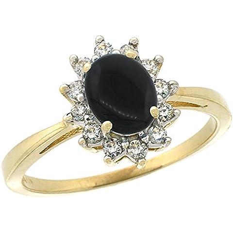 In oro giallo 14 k, colore: nero Onyx-Anello di forma ovale, 7 x 5 mm, Halo, taglie J-T