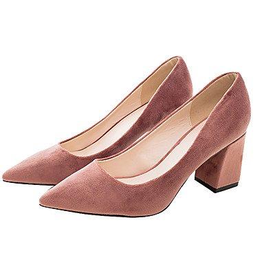 Sanmulyh Womens Chaussures Tissu Printemps Automne Pompe Talons De Base Chunky Talon Pointu Toe Pour Casual Office & Amp; Carrière Rose Noire Rose