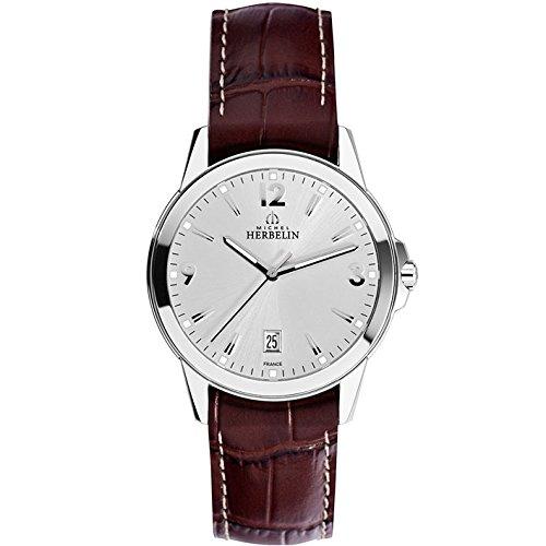Orologio da uomo–Michel Herbelin–Cinturino in pelle–zaffiro Glass–12250/12MA