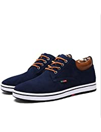 LXMEI Scarpe da uomo Canvas Primavera Autunno Driving Shoes Comfort Sneakers Casual Outdoor Altezza scarpe alte Black Brown Blue Coffee (Colore : Blu, Dimensione : 37)
